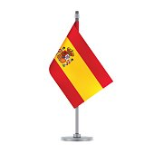 Flag design. Spanish flag hanging on the metallic pole. Isolated template for your designs. Vector illustration.
