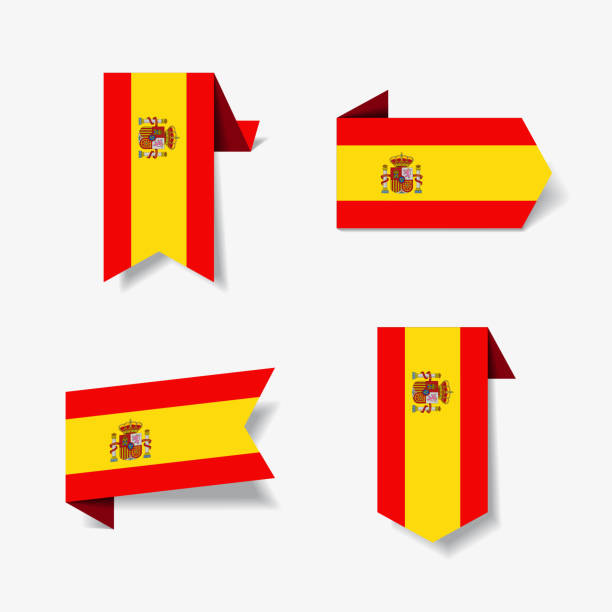 spanish flag stickers and labels. vector illustration. - spanish flag stock illustrations, clip art, cartoons, & icons