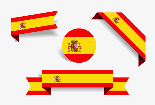 Spanish flag stickers and labels. Vector illustration.