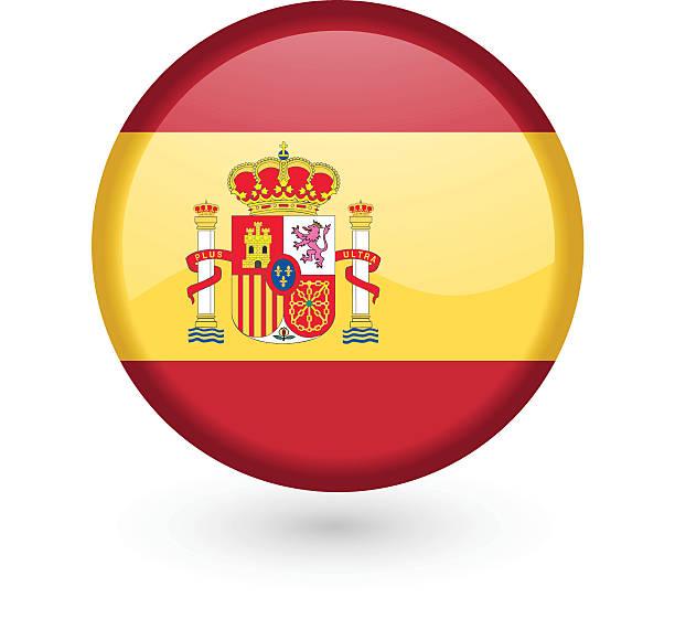 spanish flag vector button - spanish flag stock illustrations, clip art, cartoons, & icons