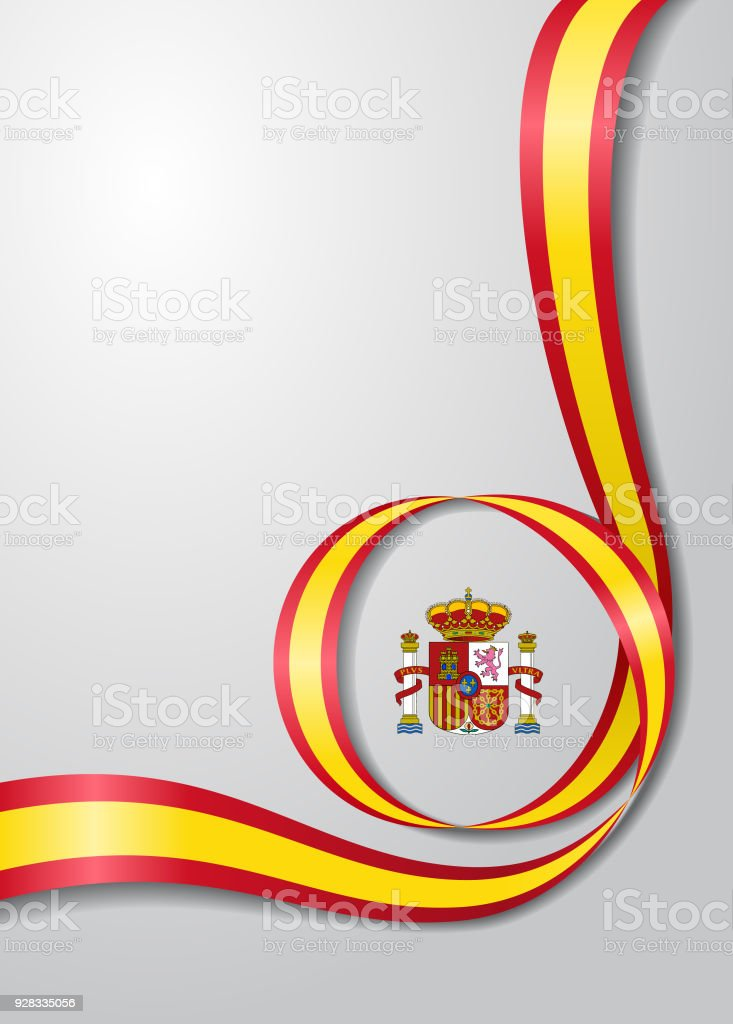 Spanish flag wavy background. Vector illustration. vector art illustration
