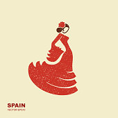 Spanish flamenco dancer. Flat icon Vector Illustration with scuffed effect
