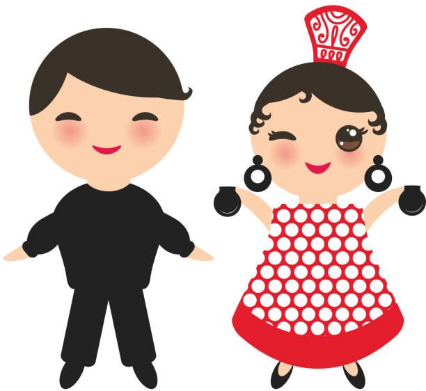 stockillustraties, clipart, cartoons en iconen met spaanse flamencodanseres. kawaii schattig gezicht met roze wangen en knippen ogen. gipsy girl en boy, rood zwart witte jurk, polka dot weefsel, geïsoleerd op een witte achtergrond. vector - castagnetten