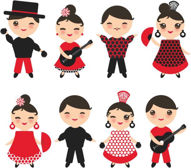 stockillustraties, clipart, cartoons en iconen met spaanse flamenco danseres set. kawaii schattig gezicht met roze wangen en knippen ogen. gipsy girl en boy, rood zwart witte jurk, polka dot weefsel, geïsoleerd op een witte achtergrond. vector - castagnetten
