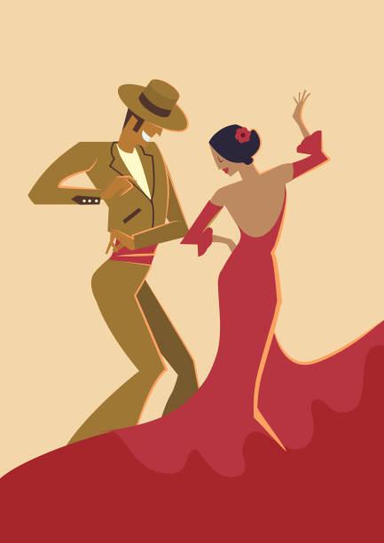 Dançarinos de Flamenco espanhol - ilustração de arte em vetor