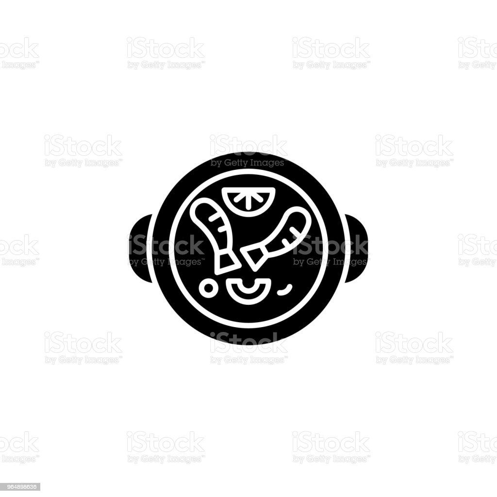 Spanish food black icon concept. Spanish food flat  vector symbol, sign, illustration. - Royalty-free Architecture stock vector