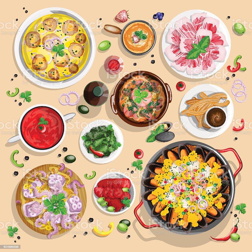 Spanish food collection - ilustração de arte em vetor
