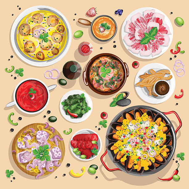 Spanish food collection vector art illustration