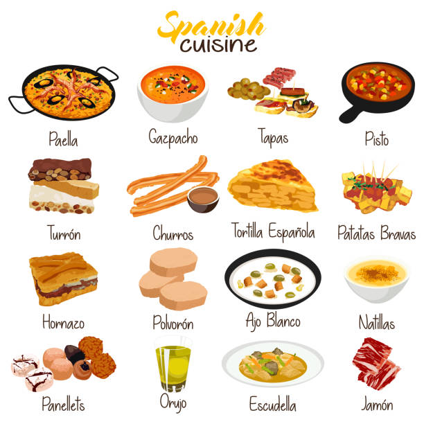 stockillustraties, clipart, cartoons en iconen met spaans eten keuken illustratie - paella