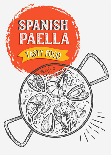 stockillustraties, clipart, cartoons en iconen met spaans eten illustratie-paella voor restaurant. vector hand getekende poster voor catalaans café en bar. ontwerp met belettering en doodle vintage graphic. - paella