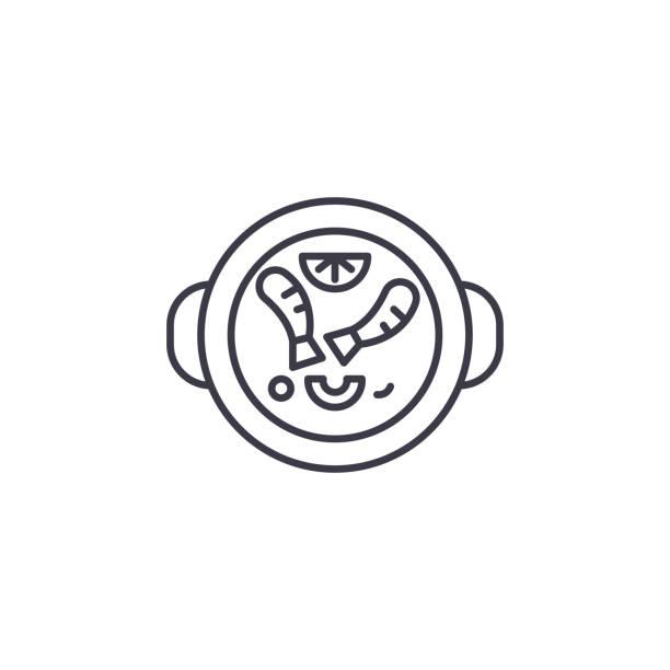 stockillustraties, clipart, cartoons en iconen met spaanse gerechten lineaire pictogram concept. spaanse gerechten lijn vector teken, symbool, afbeelding. - tafel restaurant top