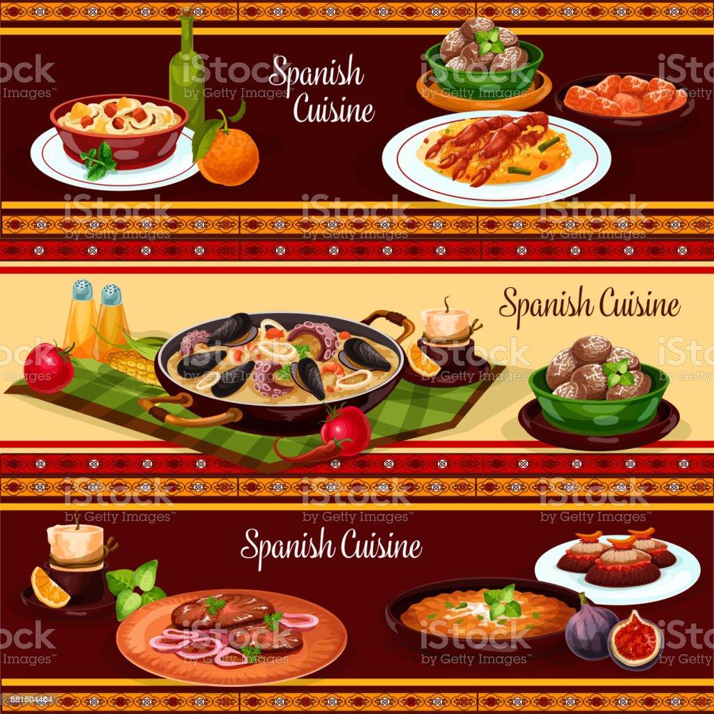Comida espanhola, conjunto de bandeira de cozinha mediterrânica - ilustração de arte em vetor