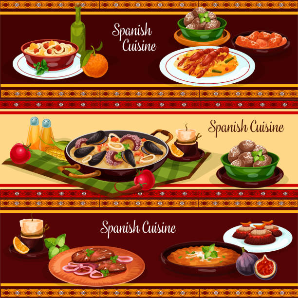 Spanish food, mediterranean cuisine banner set vector art illustration