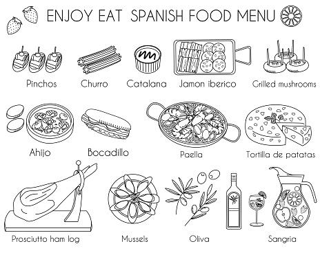 Spanish food menu icon