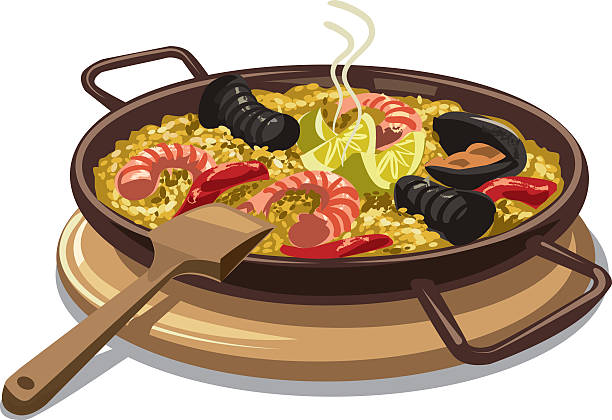 stockillustraties, clipart, cartoons en iconen met spanish food paella - paella