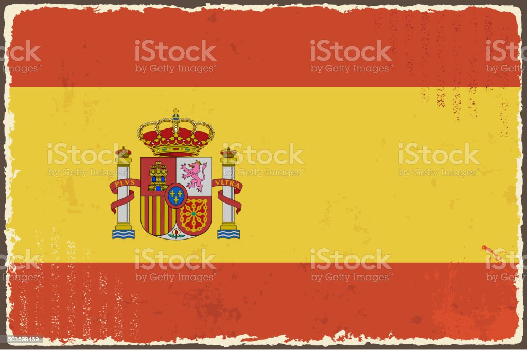 Spanish grunge flag. vector art illustration