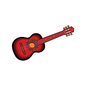 Spanish guitar with Mexican, Aztec ornaments