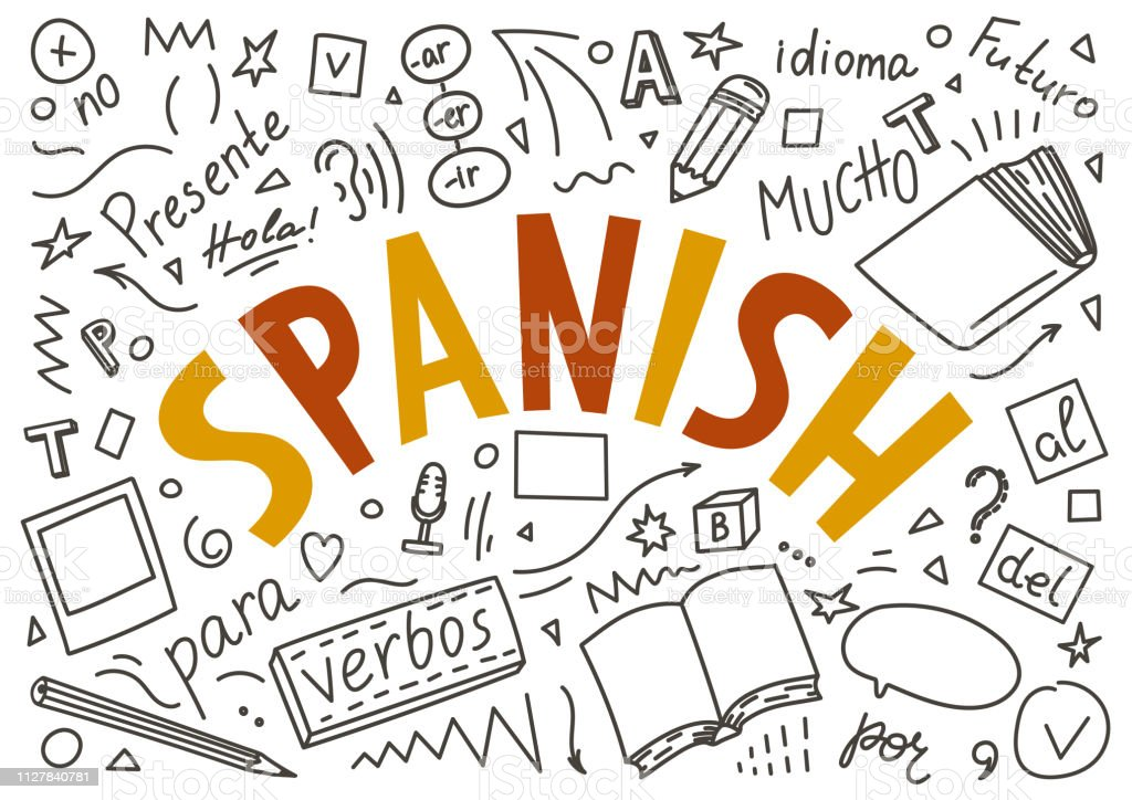 "Spanish. Hand drawn doodles and lettering Spanish. Hand drawn doodles and lettering on white background. ""Presente, hola, idioma, Futuro, mucho, para, verbos, no"". Translate: ""Present, hello, language, Future, a lot, for, verbs, no"". Spanish Language stock vector"