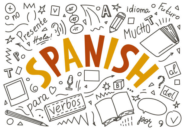 illustrazioni stock, clip art, cartoni animati e icone di tendenza di spanish. hand drawn doodles and lettering - spagnolo lingua