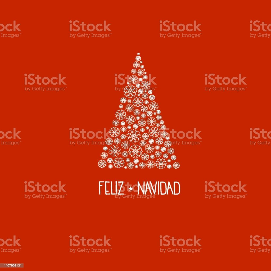 spanish hand lettering feliz navidad merry christmas on greeting card vector id1167969131