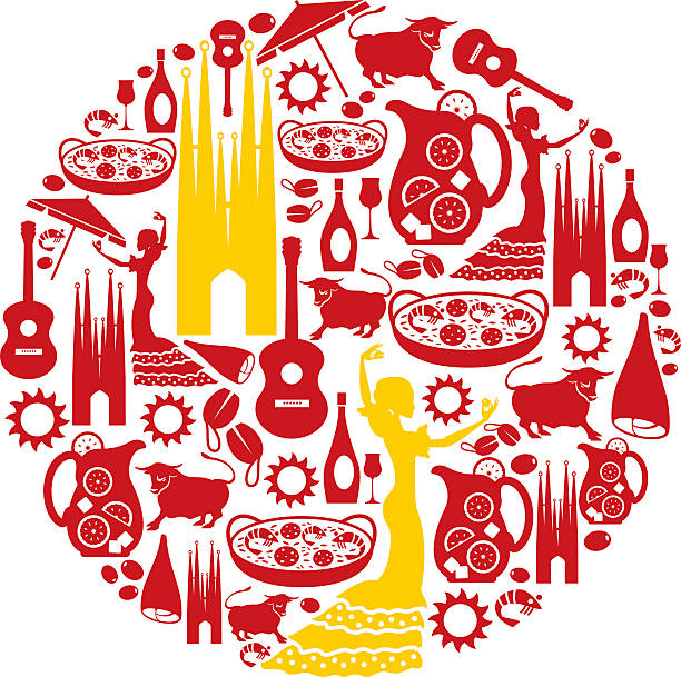 stockillustraties, clipart, cartoons en iconen met spanish icon montage - paella