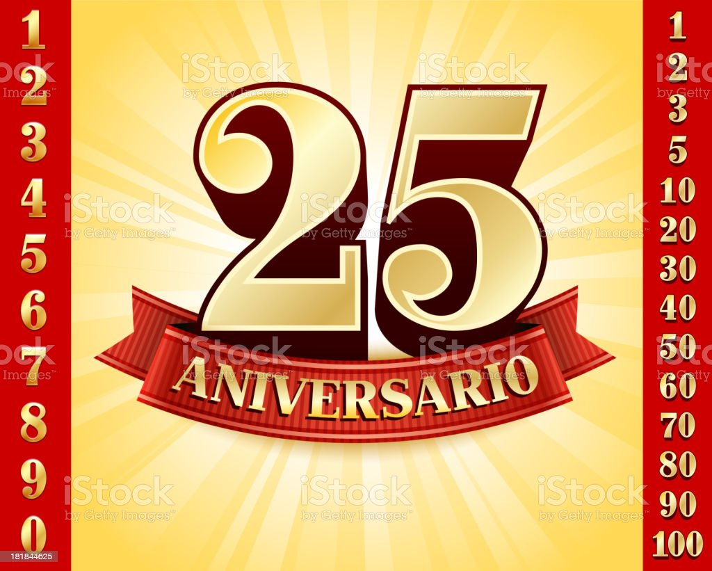 Spanish Language Anniversary Badges Red and Gold Collection Background - Royaltyfri 20-24 år vektorgrafik