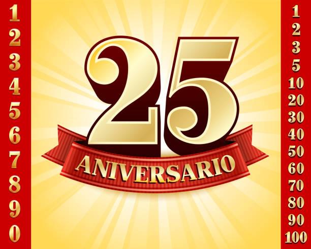 bildbanksillustrationer, clip art samt tecknat material och ikoner med spanish language anniversary badges red and gold collection background - 50 59 år
