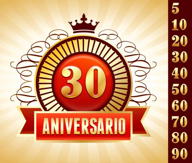 bildbanksillustrationer, clip art samt tecknat material och ikoner med spanish language anniversary badges red royalty free vector graphic - 50 59 år