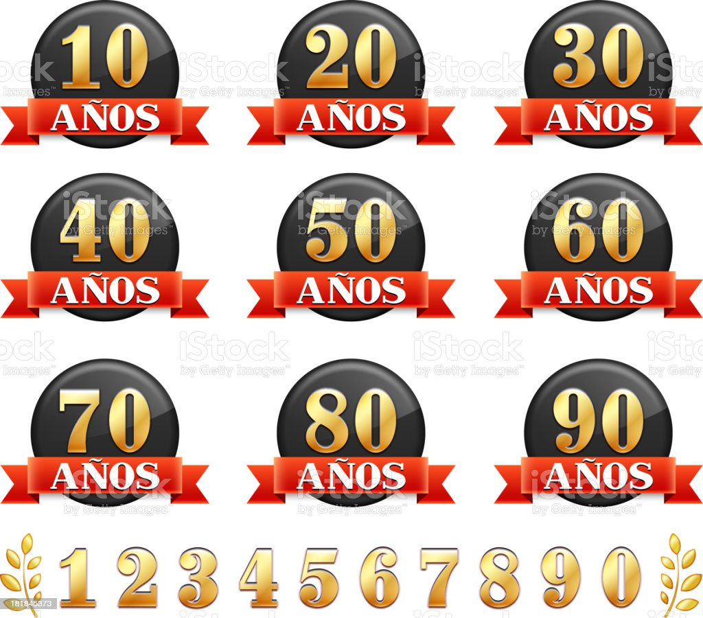 Spanish Language Anniversary Badges Red royalty free vector graphic - Royaltyfri 20-24 år vektorgrafik