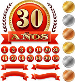 Spanish Language Custom Anniversary Badges Red and Gold Collection Background