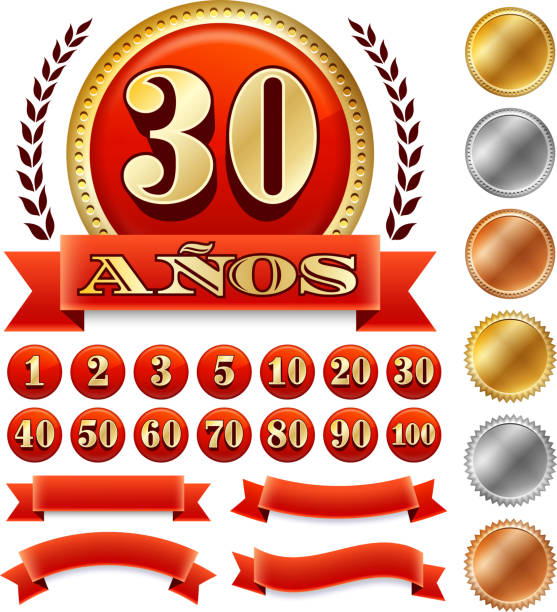 bildbanksillustrationer, clip art samt tecknat material och ikoner med spanish language anniversary badges red royalty free vector graphic - 20 29 år