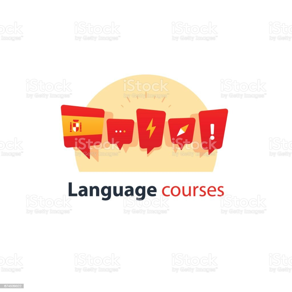 Spanish language courses advertising concept. Fluent speaking foreign language vector art illustration