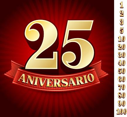 Spanish Logo Of Twenty Five Anniversary-vektorgrafik och fler bilder på 20-24 år