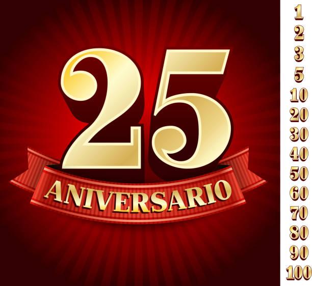 bildbanksillustrationer, clip art samt tecknat material och ikoner med spanish logo of twenty five anniversary - 50 59 år