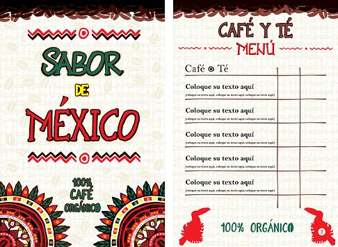 Spanish Menu for cafe, bar, coffeehouse - Sabor de Mexico