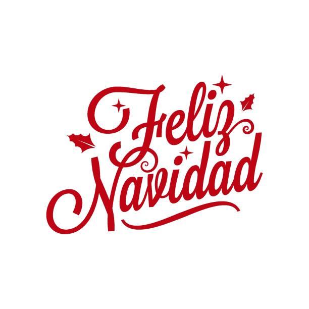 spanisch merry xmas schriftzug - feliz navidad auf weißem hintergrund - südeuropa stock-grafiken, -clipart, -cartoons und -symbole