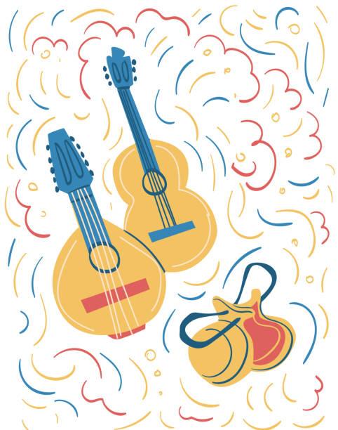 stockillustraties, clipart, cartoons en iconen met spaanse nationale instrumenten: gitaar, bandurria en castagnetten - castagnetten