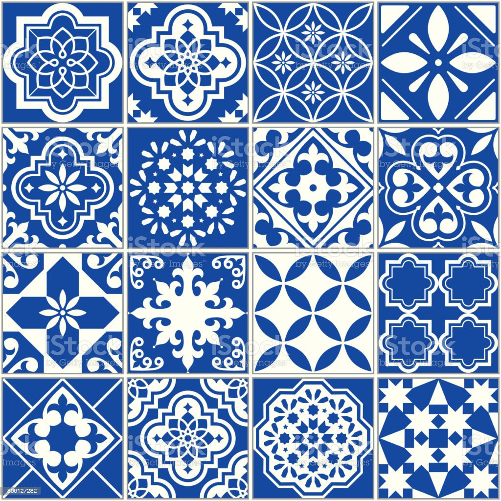 Spanish Or Portuguese Vector Tile Pattern Lisbon Floral Mosaic ...