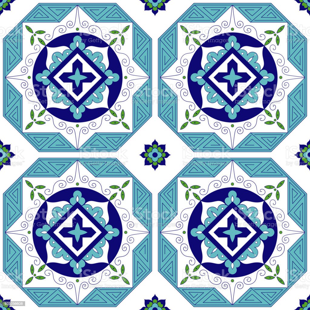 Spanish Pattern From Blue Green And White Tiles Ornaments Portuguese ...