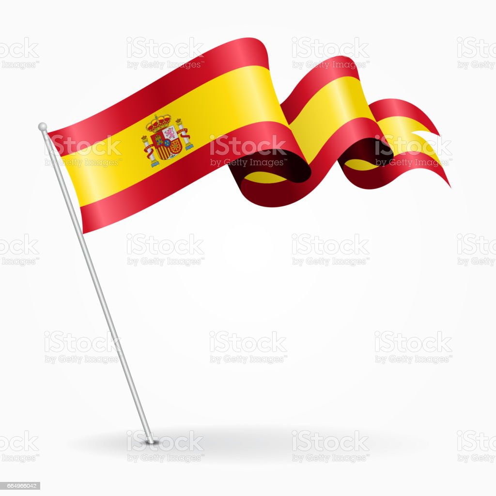 Spanish pin wavy flag. Vector illustration. vector art illustration