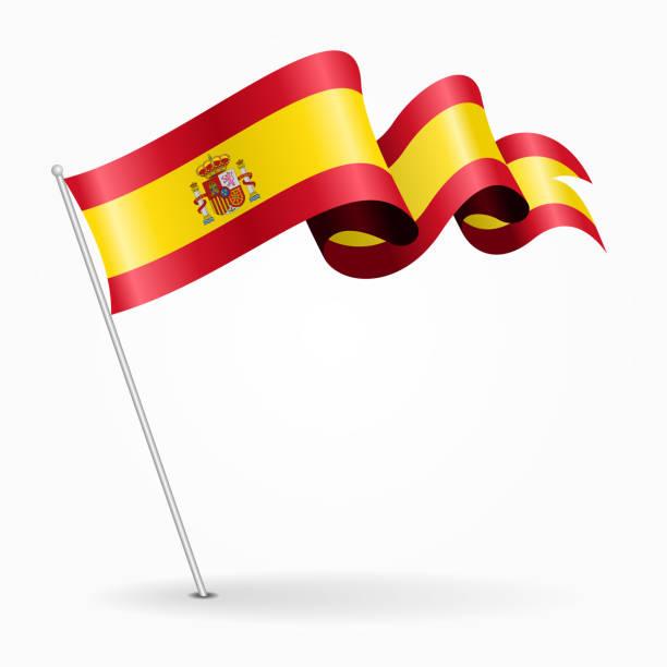 spanish pin wavy flag. vector illustration. - spanish flag stock illustrations, clip art, cartoons, & icons
