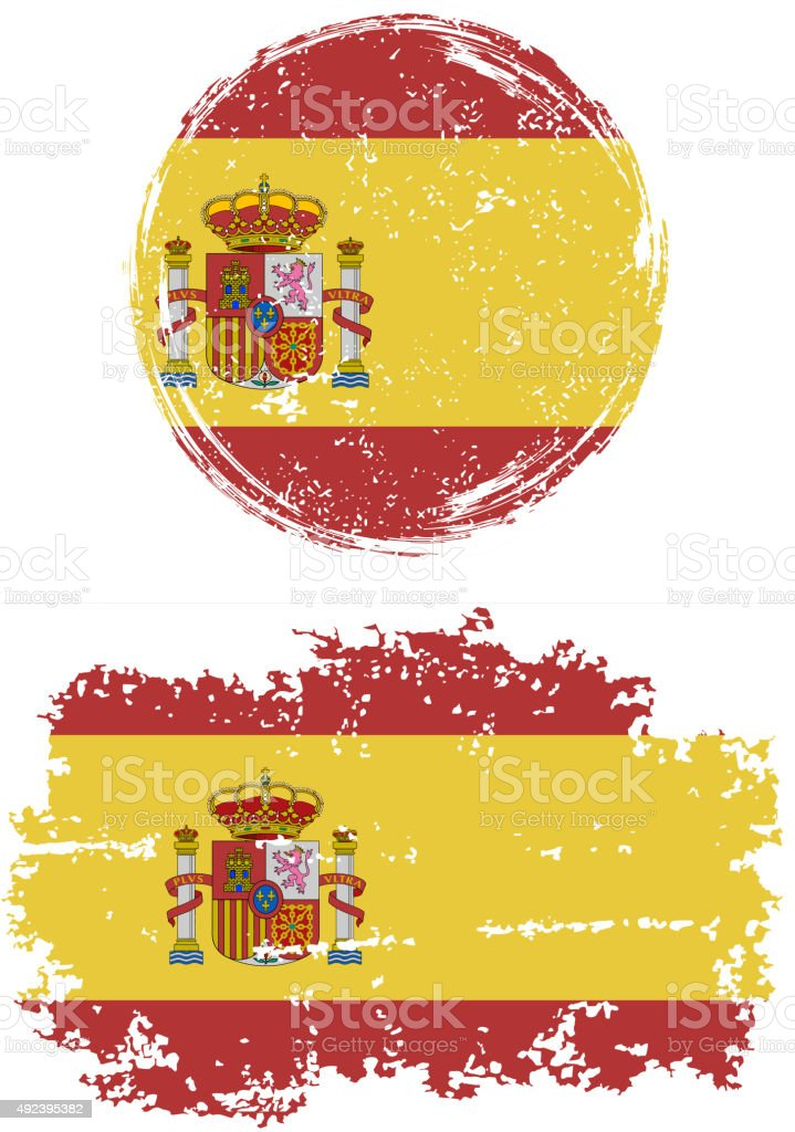 Spanish round and square grunge flags. Vector illustration vector art illustration