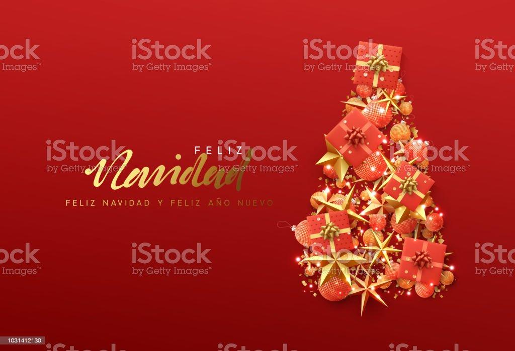 Christmas Wishes In Spanish.Spanish Text Feliz Navidad Christmas Greeting Card Stock