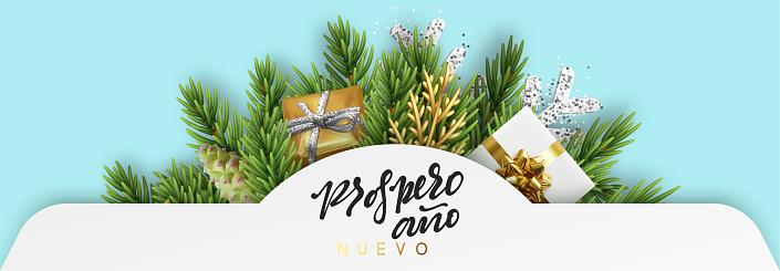 Spanish text Prospero ano Nuevo. Merry Christmas.
