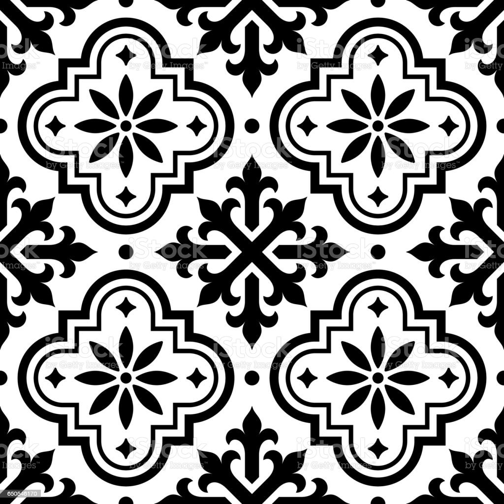Spanish tile pattern moroccan tiles design seamless black for Tiles black and white