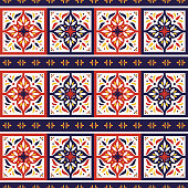Spanish tile pattern seamless vector with border ornaments. Portuguese azulejo, mexican talavera, italian majolica, moroccan motif. Tiled texture background for kitchen or bathroom flooring ceramic.