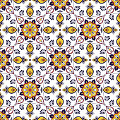 Spanish tile pattern seamless vector with flower ornaments. Portuguese azulejo, mexican talavera, italian majolica, moroccan motifs. Tiled texture for kitchen tablecloth or bathroom flooring ceramic.