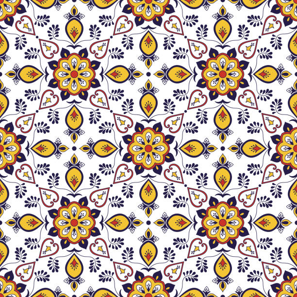 spanish tile pattern seamless vector with flower ornaments. portuguese azulejo, mexican talavera, italian majolica, moroccan motifs. tiled texture for kitchen tablecloth or bathroom flooring ceramic. - sicily stock illustrations