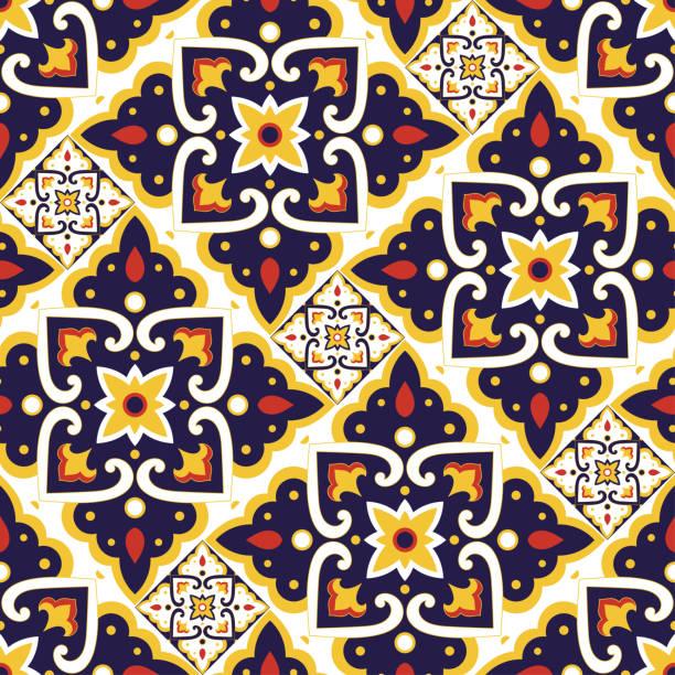 hiszpański wzór płytek bezszwowy wektor z motywami vintage. portugalski azulejos lub meksykański talavera ceramiczny - kultura portugalska stock illustrations