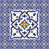 Spanish tile pattern vector ornaments. Vintage barcelona mosaic texture element in center with border frame. Portuguese azulejos background, mexican talavera ceramic, italian sicily majolica.